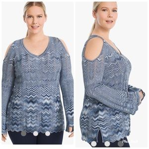 WHBM NWOT Blue Zigzag Cold Shoulder Sweater